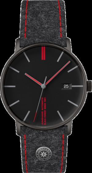 Armbanduhr Junghans Form A Edition 160 mit schwarzem Zifferblatt und Textilarmband