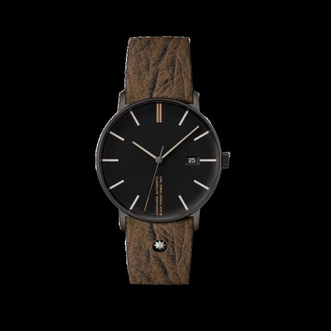 Armbanduhr Junghans Form A Edition 160 mit schwarzem Zifferblatt und Kalbsleder-Armband bei Brogle