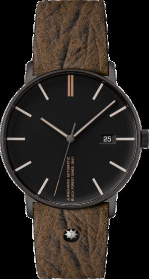 Armbanduhr Junghans Form A Edition 160 mit schwarzem Zifferblatt und Kalbsleder-Armband