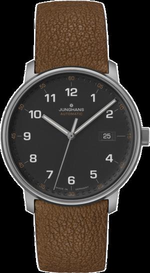 Herrenuhr Junghans Form A Titan 40mm mit anthrazitfarbenem Zifferblatt und Büffelleder-Armband