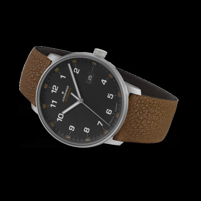 Herrenuhr Junghans Form A Titan 40mm mit anthrazitfarbenem Zifferblatt und Büffelleder-Armband bei Brogle