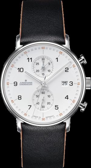 Herrenuhr Junghans Form C mit weißem Zifferblatt und Kalbsleder-Armband