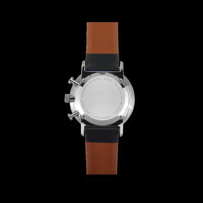 Herrenuhr Junghans Form C mit weißem Zifferblatt und Kalbsleder-Armband bei Brogle