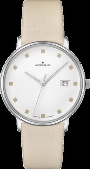 Damenuhr Junghans Form Damen mit weißem Zifferblatt und Kalbsleder-Armband