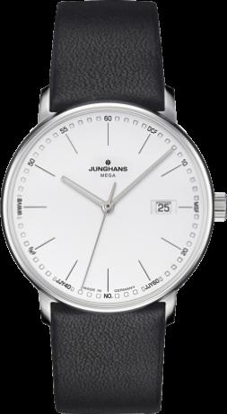 Herrenuhr Junghans Form Mega mit silberfarbenem Zifferblatt und Kalbsleder-Armband