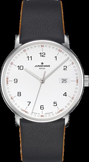 Armbanduhr Junghans Form Mega mit weißem Zifferblatt und Kalbsleder-Armband