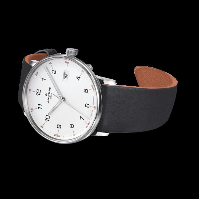 Armbanduhr Junghans Form Mega mit weißem Zifferblatt und Kalbsleder-Armband bei Brogle