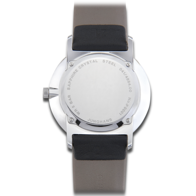 Armbanduhr Junghans Form Quarz mit weißem Zifferblatt und Kalbsleder-Armband bei Brogle