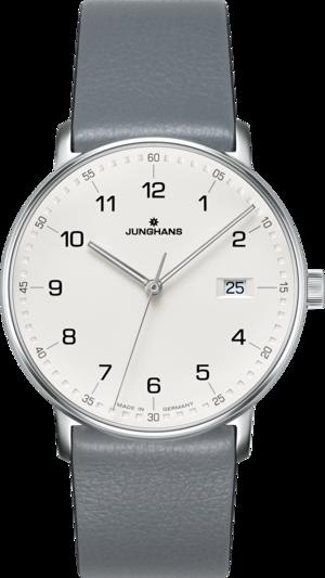 Armbanduhr Junghans Form Quarz mit weißem Zifferblatt und Kalbsleder-Armband