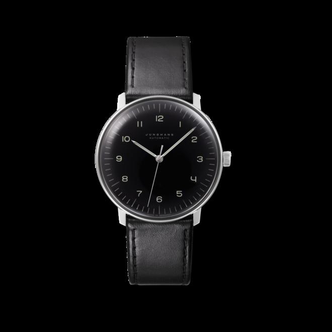 Armbanduhr Junghans Max Bill Automatic mit schwarzem Zifferblatt und Kalbsleder-Armband bei Brogle