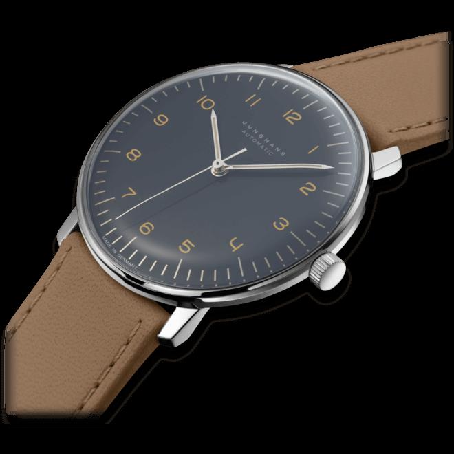 Armbanduhr Junghans Max Bill Automatic mit schwarzem Zifferblatt und Kalbsleder-Armband