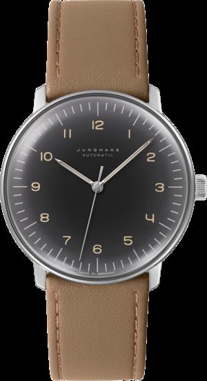 Herrenuhr Junghans Max Bill Automatic mit schwarzem Zifferblatt und Kalbsleder-Armband