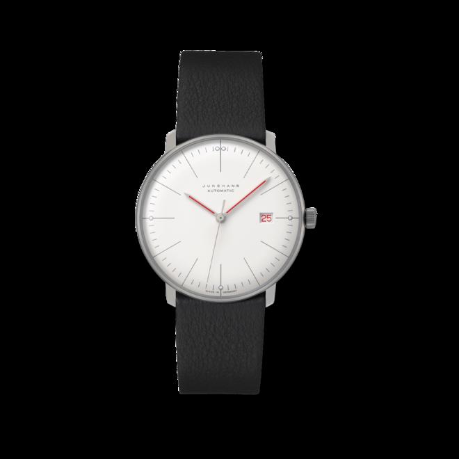 Herrenuhr Junghans Max Bill Automatic mit weißem Zifferblatt und Kalbsleder-Armband bei Brogle