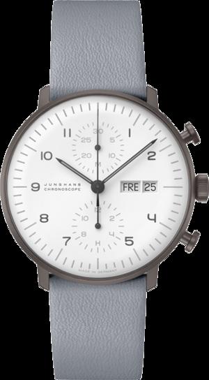 Herrenuhr Junghans Max Bill Chronoscope mit weißem Zifferblatt und Kalbsleder-Armband