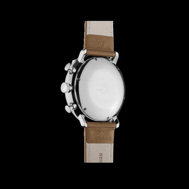 Herrenuhr Junghans Max Bill Chronoscope mit weißem Zifferblatt und Kalbsleder-Armband bei Brogle
