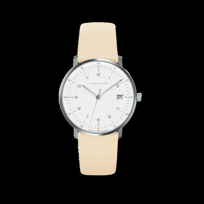 Damenuhr Junghans Max Bill Damen mit weißem Zifferblatt und Kalbsleder-Armband bei Brogle