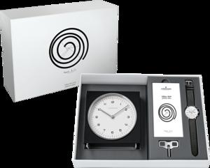 Herrenuhr Junghans Max Bill Edition Set mit weißem Zifferblatt und Kalbsleder-Armband