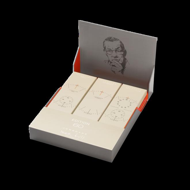 Herrenuhr Junghans Max Bill Edition Set 60 mit weißem Zifferblatt und Kalbsleder-Armband bei Brogle