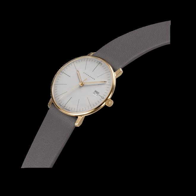Damenuhr Junghans Max Bill Gold Damen mit grauem Zifferblatt und Kalbsleder-Armband bei Brogle