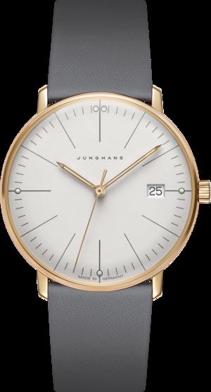 Damenuhr Junghans Max Bill Gold Damen mit grauem Zifferblatt und Kalbsleder-Armband