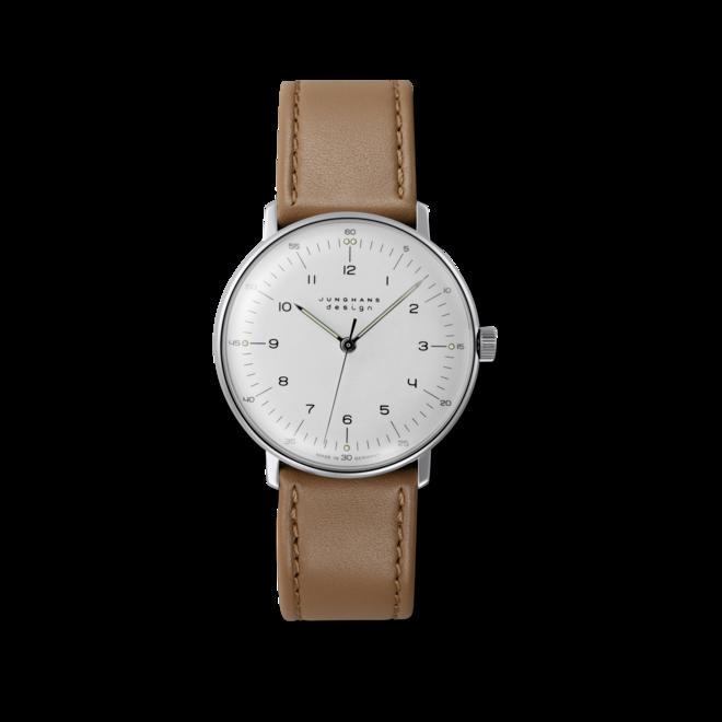 Damenuhr Junghans Max Bill Handaufzug mit weißem Zifferblatt und Kalbsleder-Armband bei Brogle