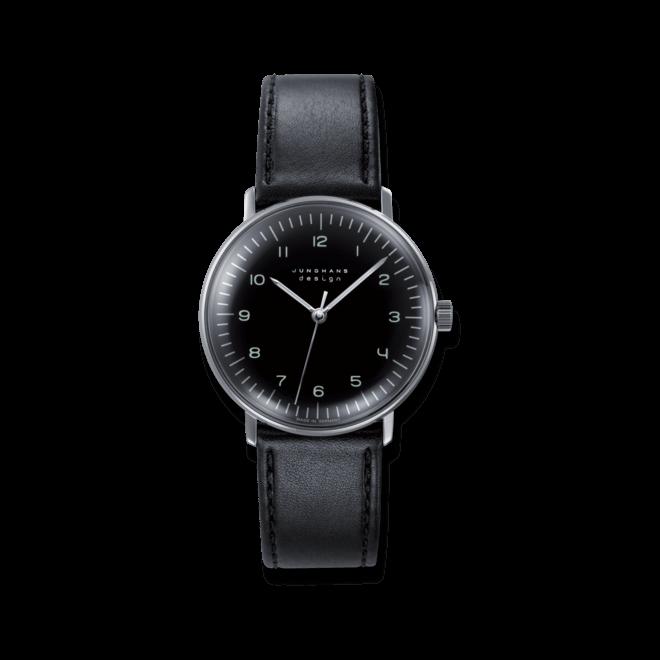 Armbanduhr Junghans Max Bill Handaufzug mit schwarzem Zifferblatt und Kalbsleder-Armband