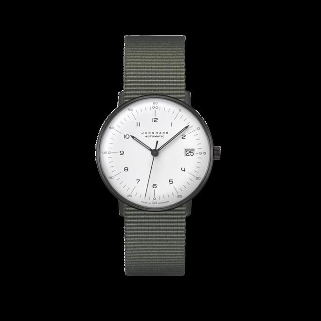 Armbanduhr Junghans Max Bill kleine Automatic mit weißem Zifferblatt und Textilarmband bei Brogle