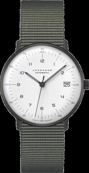 Armbanduhr Junghans Max Bill kleine Automatic mit weißem Zifferblatt und Textilarmband