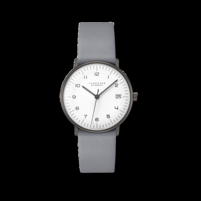 Armbanduhr Junghans Max Bill kleine Automatic mit weißem Zifferblatt und Kalbsleder-Armband bei Brogle