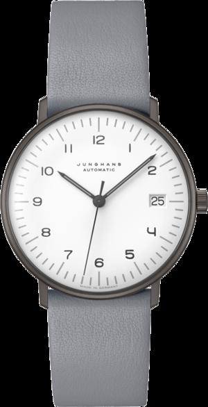 Armbanduhr Junghans Max Bill kleine Automatic mit weißem Zifferblatt und Kalbsleder-Armband