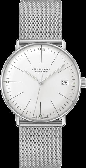 Armbanduhr Junghans Max Bill kleine Automatic mit silberfarbenem Zifferblatt und Edelstahlarmband