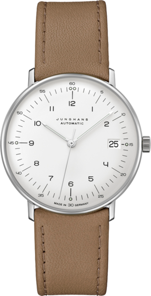 Armbanduhr Junghans Max Bill kleine Automatic mit silberfarbenem Zifferblatt und Kalbsleder-Armband