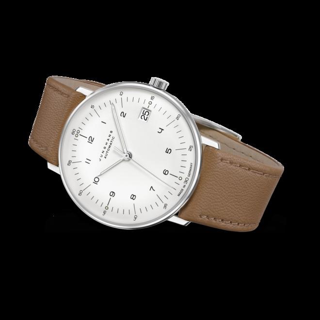 Armbanduhr Junghans Max Bill kleine Automatic mit silberfarbenem Zifferblatt und Kalbsleder-Armband bei Brogle