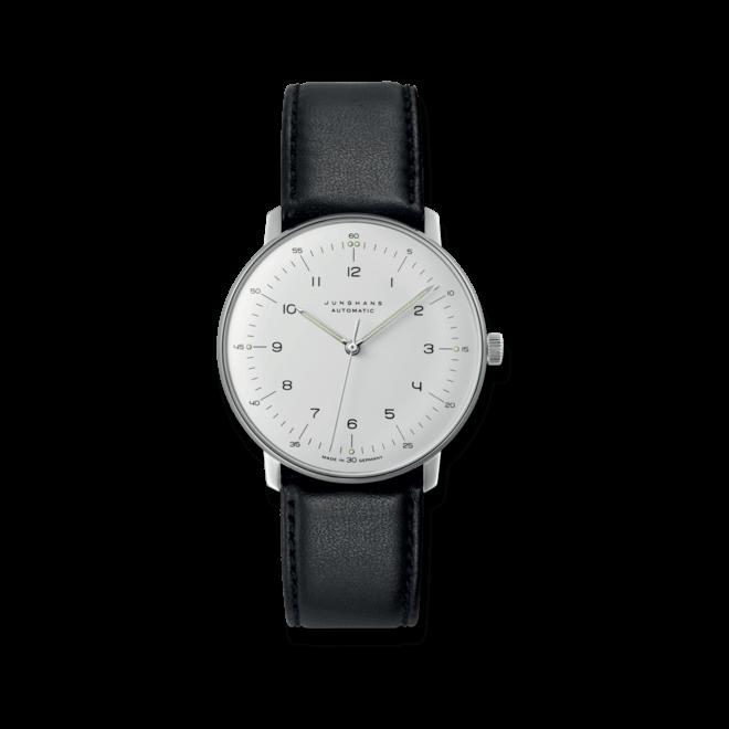 Herrenuhr Junghans Max Bill Automatic mit weißem Zifferblatt und Kalbsleder-Armband