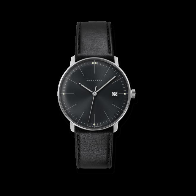 Armbanduhr Junghans Max Bill Quarz mit schwarzem Zifferblatt und Kalbsleder-Armband
