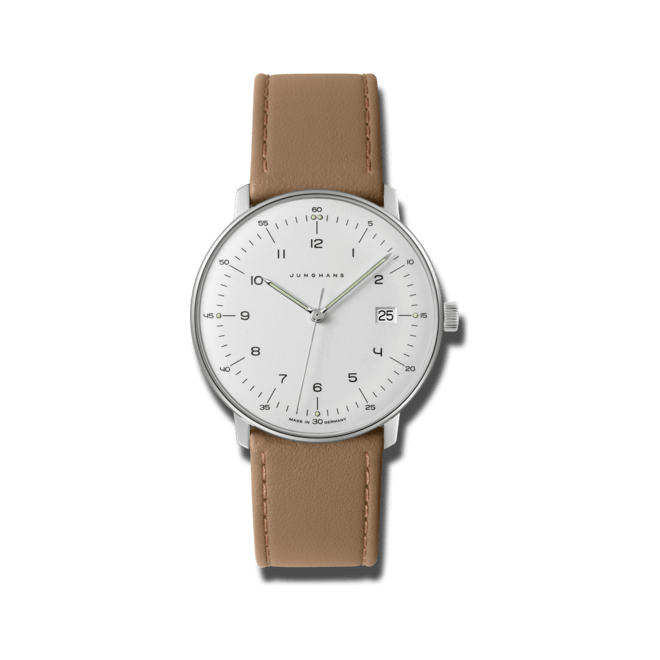 Herrenuhr Junghans Max Bill Quarz mit weißem Zifferblatt und Kalbsleder-Armband