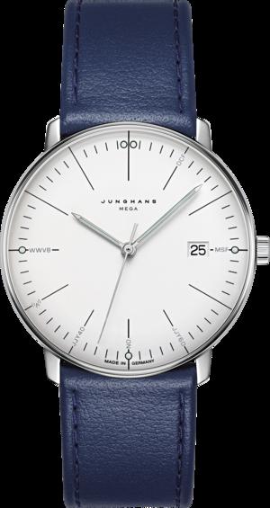 Armbanduhr Junghans Max Bill MEGA mit silberfarbenem Zifferblatt und Kalbsleder-Armband