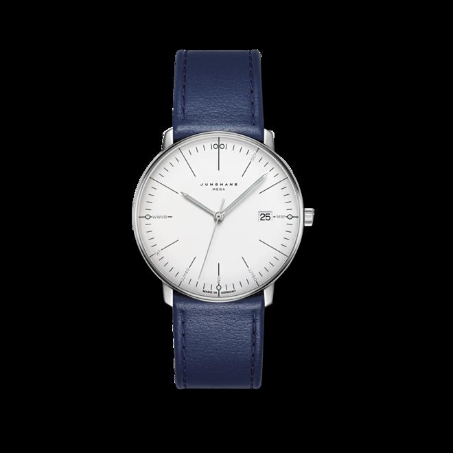 Armbanduhr Junghans Max Bill MEGA mit silberfarbenem Zifferblatt und Kalbsleder-Armband bei Brogle