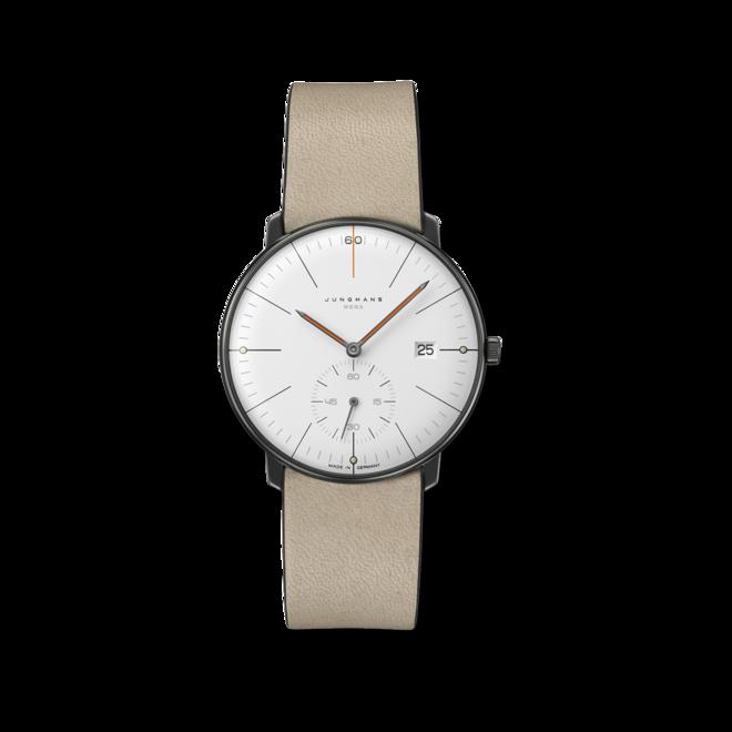 Armbanduhr Junghans Max Bill MEGA kleine Sekunde Edition 60 mit weißem Zifferblatt und Kalbsleder-Armband bei Brogle