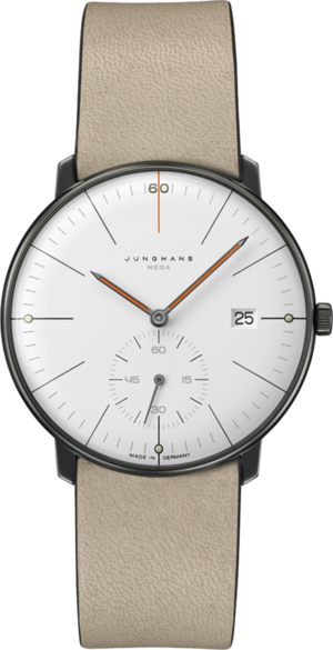 Armbanduhr Junghans Max Bill MEGA kleine Sekunde Edition 60 mit weißem Zifferblatt und Kalbsleder-Armband