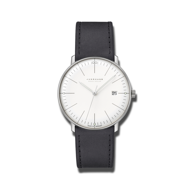 Armbanduhr Junghans Max Bill MEGA Solar mit weißem Zifferblatt und Kalbsleder-Armband bei Brogle