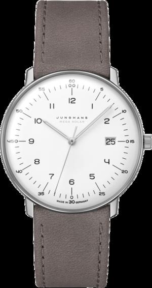 Armbanduhr Junghans Max Bill MEGA Solar mit weißem Zifferblatt und Kalbsleder-Armband