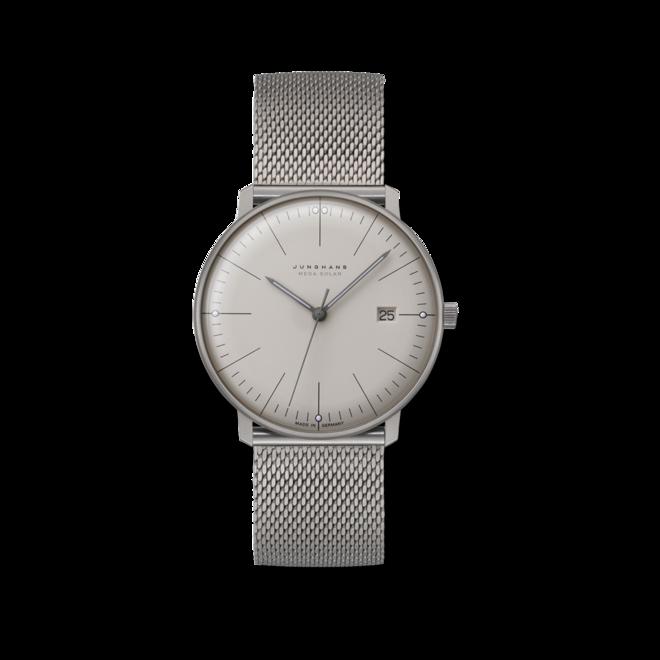 Armbanduhr Junghans Max Bill MEGA Solar mit weißem Zifferblatt und Titanarmband bei Brogle