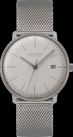 Armbanduhr Junghans Max Bill MEGA Solar mit weißem Zifferblatt und Titanarmband