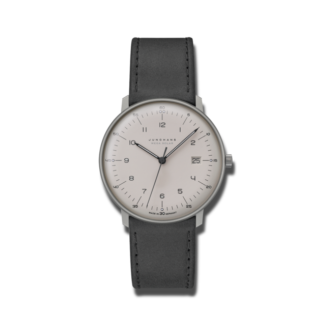 Armbanduhr Junghans Max Bill MEGA Solar mit grauem Zifferblatt und Kalbsleder-Armband bei Brogle