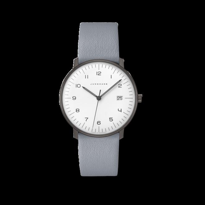 Armbanduhr Junghans Max Bill Quarz mit weißem Zifferblatt und Kalbsleder-Armband bei Brogle