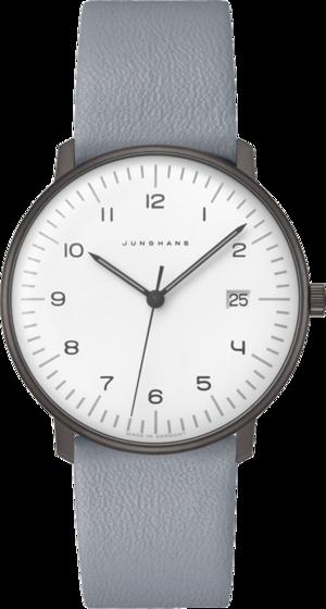 Armbanduhr Junghans Max Bill Quarz mit weißem Zifferblatt und Kalbsleder-Armband