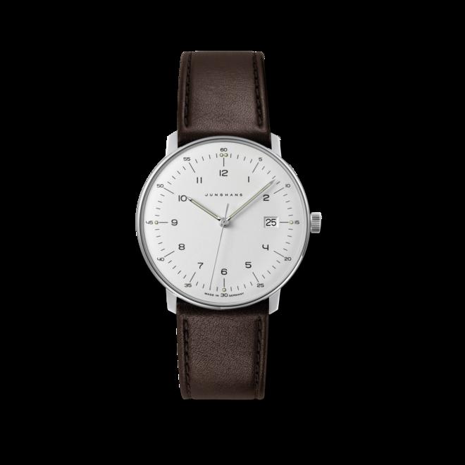 Armbanduhr Junghans Max Bill Quarz mit silberfarbenem Zifferblatt und Kalbsleder-Armband bei Brogle