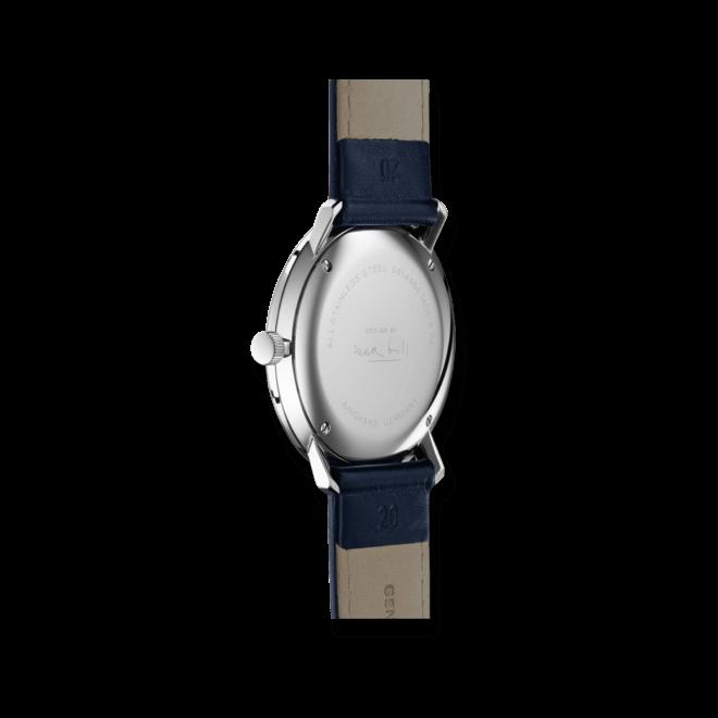 Armbanduhr Junghans Max Bill Quarz mit silberfarbenem Zifferblatt und Kalbsleder-Armband