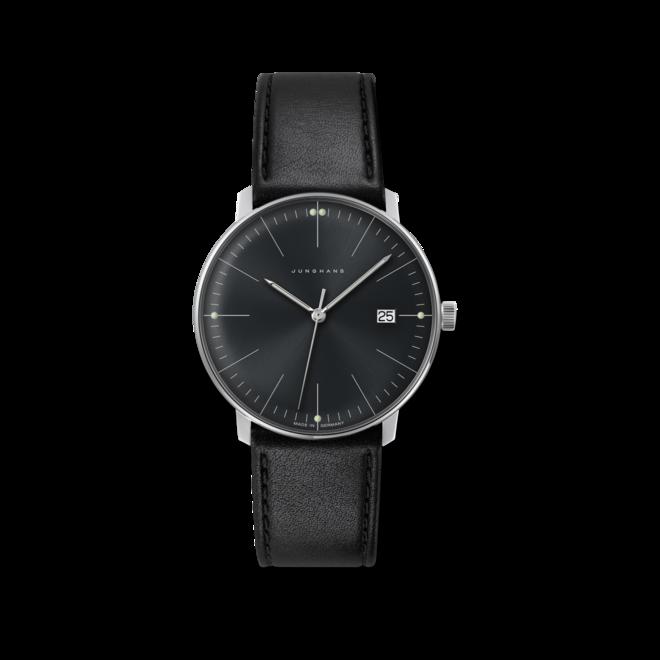 Armbanduhr Junghans Max Bill Quarz mit schwarzem Zifferblatt und Kalbsleder-Armband bei Brogle